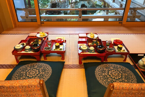 Japanese food in a Ryokan located in Koyasan, Japan