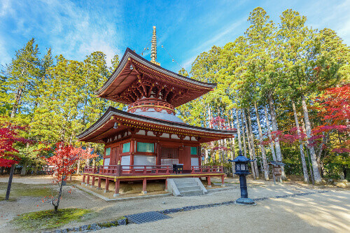 Pagoda of Kongozanmaiin at Danjo Garan Temple in Koyasan area in Wakayama, Japan
