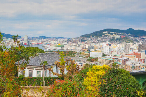 View point of Nagasaki city from Glover Garden in Nagasaki, Japan