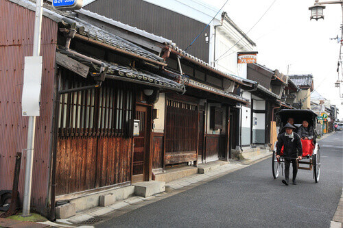 Naramachi district old houses and people Nara Japan