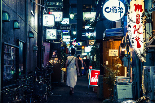 Traditional back street bars in Shinjuku Golden Gai. Golden gai consists of 6 tiny alleys with 200 tiny bar in Tokyo Japan