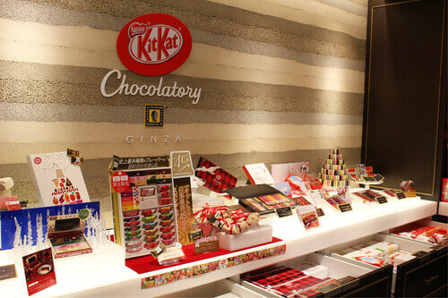 The interior of Kitkats Chocolatory in Ginza a specialist chocolate store or cafe in Tokyo Japan