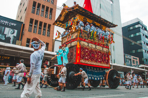 """Gion Matsuri Floats are wheeled through the city in Japans most famous festival during summer in Kyoto, Japan"""