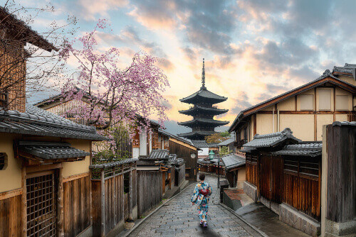 """Women wearing traditional Japanese kimono in Yasaka Pagoda and Sannen Zaka Street with Cherry blossom season in Kyoto, Japan"""