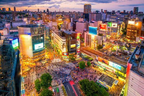 Shibuya Crossing from top view at twilight in Shibuya Tokyo Japan