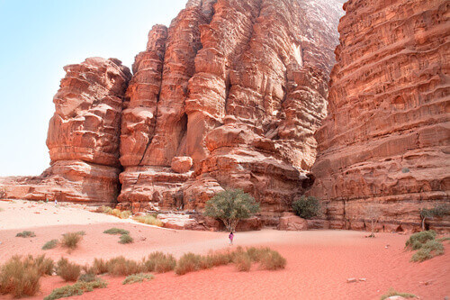 Huge Cliff in Khazali Canyon Wadi Rum Jordan