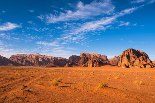 Mountain range in Wadi Rum Desert Jordan