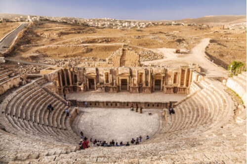 Ancient Roman Theatre in Jerash Jordan