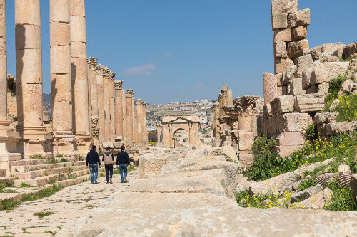 Colonnaded Street in the Roman city of Jerash.
