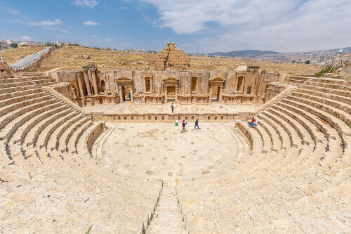Ruins of the South Theater in the Roman city of Jerash.