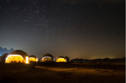 Martian Dome Tents in Wadi Rum Desert