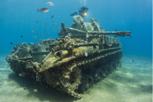 Tank underwater in Red Sea Aqaba Jordan