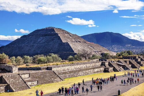 The Avenue of Dead and Sun Pyramid or the Temple of Sun in Teotihuacan Mexico