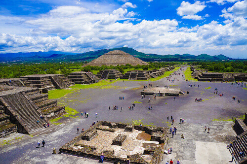 The Avenue of the Dead in the Pre-Hispanic City of Teotihuacan in Mexico