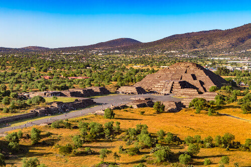 The Pyramid of the Moon and fragments of the Avenue of the Dead in Teotihuacan a UNESCO World Heritage Site in Mexico