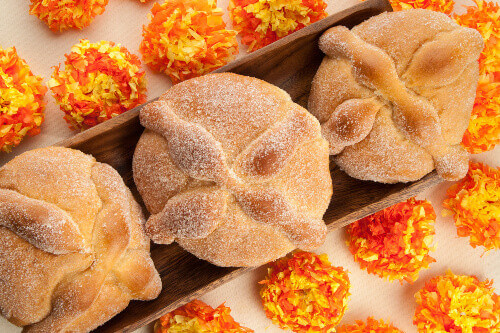 Sweet bread called Bread of the Dead (Pan de Muerto) enjoyed during Day of the Dead festivities in Mexico