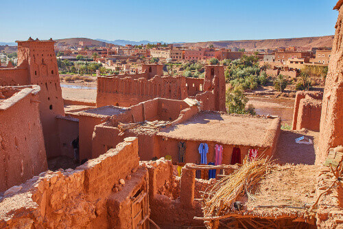 Ait Ben Haddou earthen clay architecture caravan for travellers in Morocco
