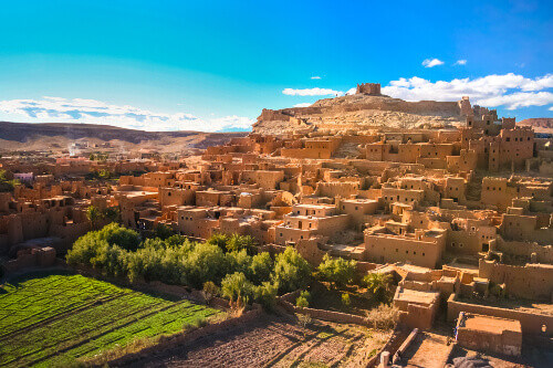 Ait Ben Haddou the fortified city kasbah or ksar and a former caravan route between Sahara and Marrakech in present day Morocco