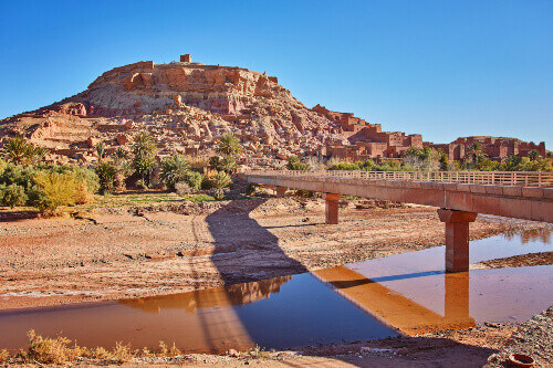 The new bridge across the Asif Ounila river at Ait Ben Haddou in Morocco
