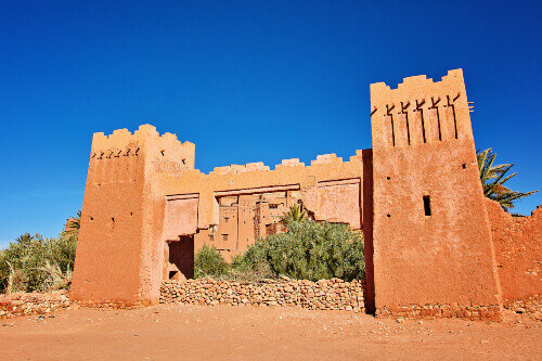 The old gates of Kasbah Ait Ben Haddou in the Atlas Mountains of Morocco