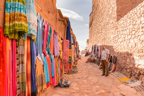 The walls of Ait Ben Haddou, a fortified city and the former caravan way from Sahara to Marrakech in Morocco