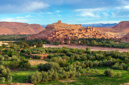 View of Ksar of Ait Ben Haddou. It is a UNESCO world heritage site fortified city and a former caravan route between the Sahara and Marrakech in Morocco