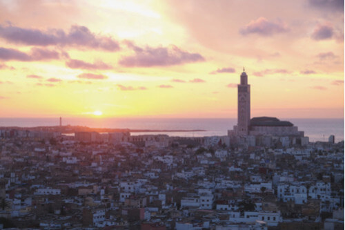Aerial View of Casablanca Morocco at Sunset