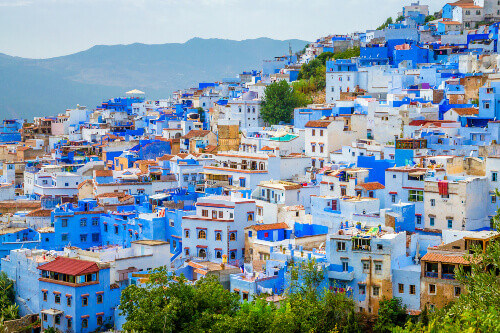 Aerial view of the blue houses of the city of Chefchaouen in Morocco