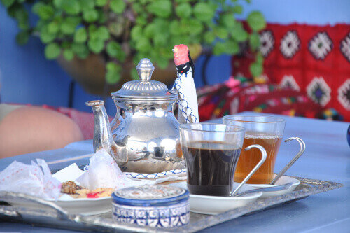 Chefchaouen tea and coffee set in Morocco