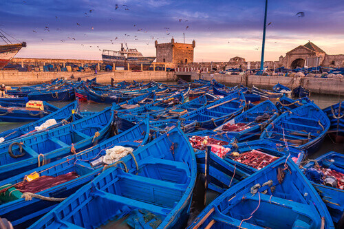 Shot after sunset at blue hour in Essaouira port in Morocco