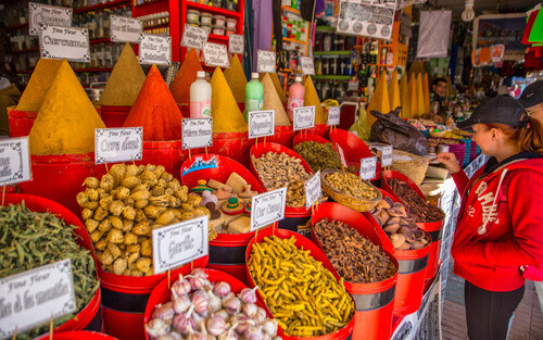 Spices and local products at the local market in medina streets of Essaouira Morocco