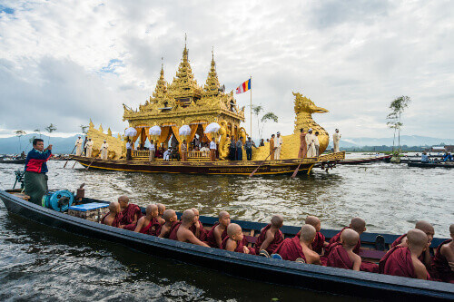 The festival of Phaung Daw Oo Pagoda celebrated once a year in October at Inle Lake in Myanmar