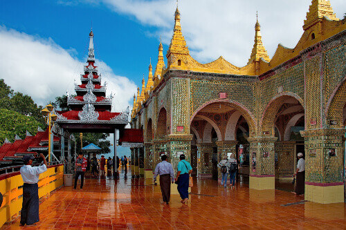 Mandalay Hill is a 240 metres hill. At the top of the hill locals and tourists visit the Sutaungpyei Pagoda in Mandalay Myanmar