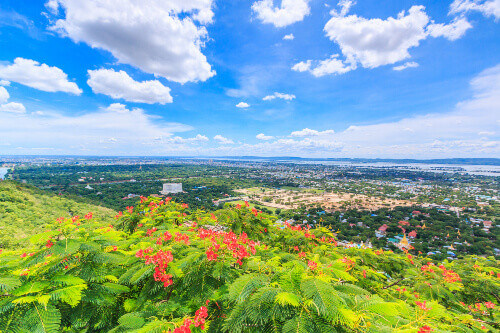 The panoramic view of Mandalay from the top of Mandalay Hill, a major tourist attraction in Mandalay Myanmar