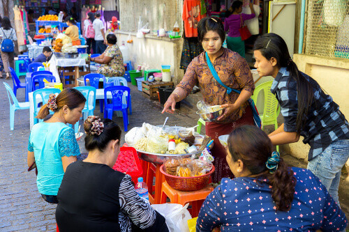 Food street in Bogyoke Aung San Market formerly Scotts Market is a major bazaar located in Pabedan in Yangon Myanmar