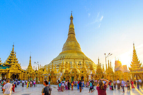 Shwedagon Paya Pagoda officially named Shwedagon Zedi Daw, is a gilded stupa and a tourist attraction located in Yangon Myanmar