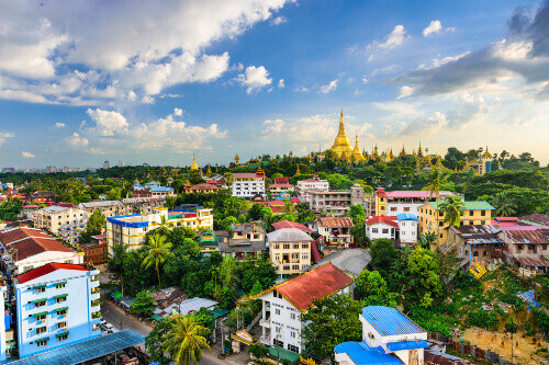 Yangon City Skyline with  Shwedagon Pagoda in the background located in Yangon Myanmar