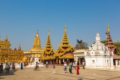 Tourists and locals tour the ancient temples of Bangan in Bangan Myanmar