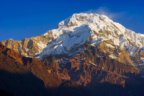 Annapurna I or Main mountain view from famous Poon Hill viewpoint with blue sky background in the morning in Himalayas Nepal