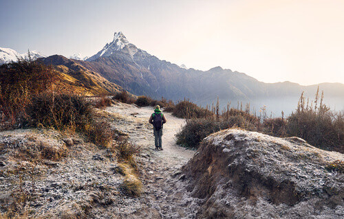 Tourist with backpack enjoying the view of snowy Himalayan Mountain Machapuchare in Himalayas Nepal