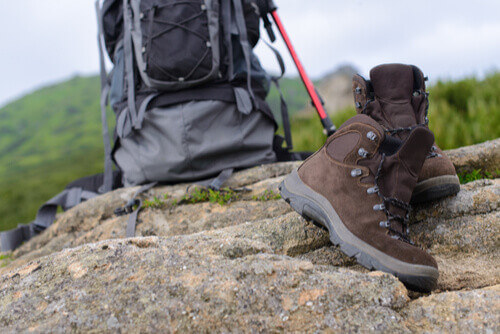 hiking boots and pack