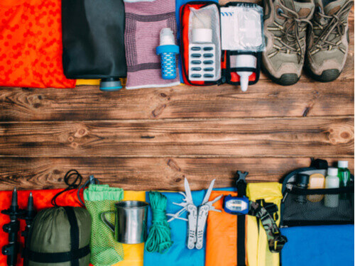 hiking clothing flat lay