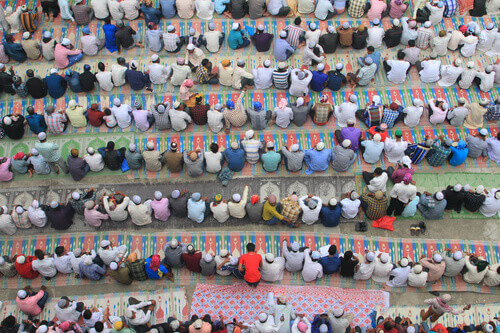 Lines of Nepali Muslims during 'Eid Prayers at the main Mosque of Kathmandu in Nepal