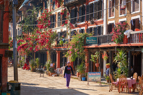 Beautiful street of old Bandipur city in Nepal