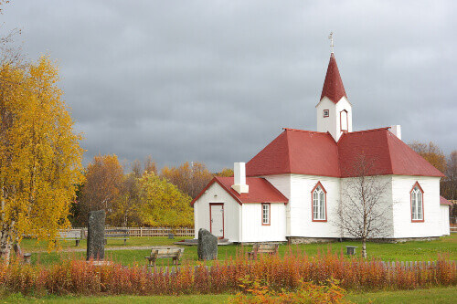 The church in Karasjok the oldest Lutheran church in Finnmark county and the only building in the municipality to survive World War II damage located in Karasjok Norway