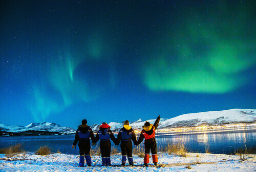 Group of tourists visiting Tromso in Norway