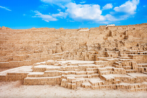 The Huaca Pucllana in the Miraflores district of Lima in Peru