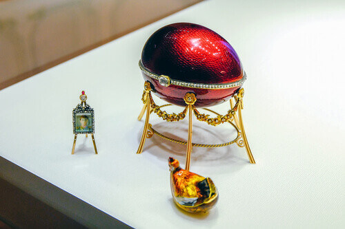 Faberge egg with hen in Russia