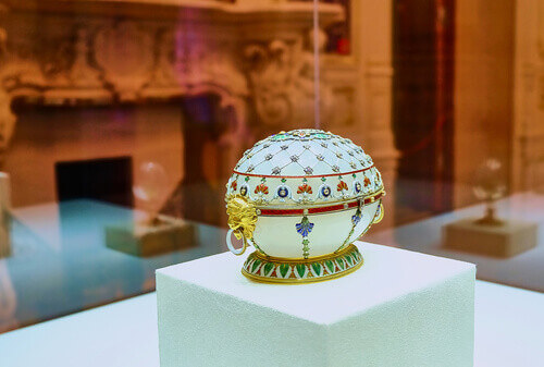 The Renaissance Egg made in 1894 by faberge as displayed in Shuvalov palace in Russia