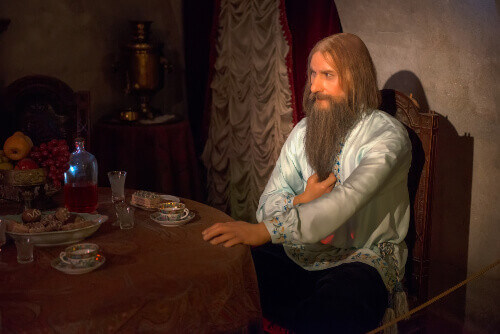 Wax figures Rasputin in the exhibition how to kill Rasputin in the basement of the Yusupov Palace in St. Petersburg Russia